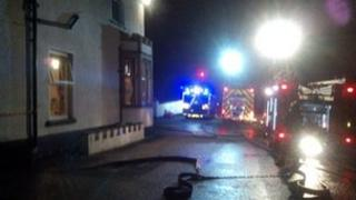 Fire engines at nursing home in Trefnant