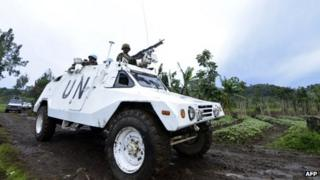 A UN mission in DR Congo (MONUSCO) armoured personnel carrier patrols in North Kivu