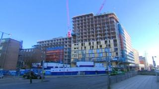 A block of flats being built in Nottingham
