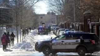 Police outside Harvard University. 16 Dec 2013