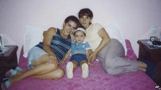 In this picture released by Susana Trimarco taken in 2002, Ms Trimarco, right, poses with her daughter Marita Veron and her granddaughter Micaela, daughter of Marita