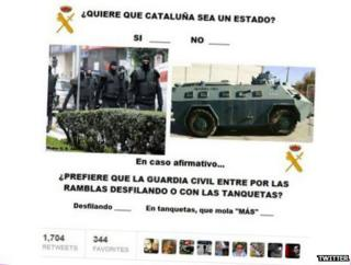 A tweet from the @iguardiacivil account on Catalan independence