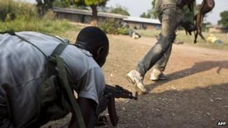 Anti-balaka militiamen training near Bangui. 17 Dec 2013