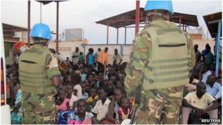 Civilians at the UN mission outside Juba in South Sudan