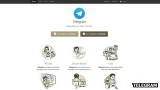 Photo showing Telegram website