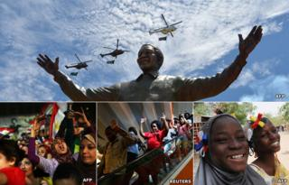 Top: Statue of Nelson Mandela in Pretoria. Bottom from left: Egyptians celebrate ousting Mohammed Morsi as president, people walk down an escalator during the siege on the Westgate shopping centre in Kenya and two girls in the Malian town of Gao with ribbons in the colours of the French and Malian flags wait to greet the French president after his troops intervened to removed Islamist militants from northern towns