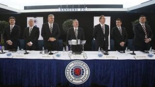 (Left to right) James Easdale, Manager Ally McCoist, Chief Executive Graham Wallace, Chairman David Somers, Norman Crighton, Brian Stockbridge and Sandy Easdale