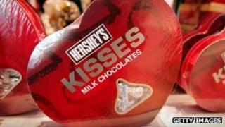 A box of Hershey's Kisses chocolates