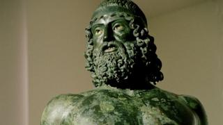 Detail of one the Ancient Greek sculptures, known as the 'Riace Bronzes'
