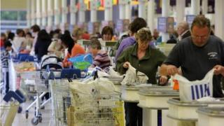 Shoppers at Tesco