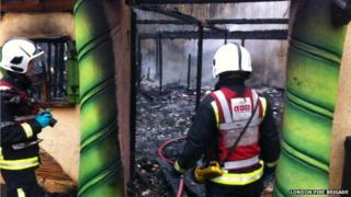 London Fire Brigade at the scene of the fire