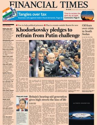 Financial Times front page 23/12/13