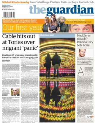 Guardian front page 23/12/13