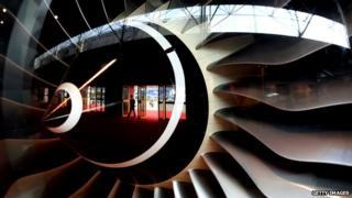 A Rolls-Royce made jet engine