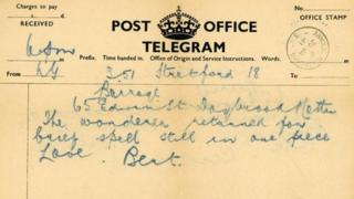 Telegram sent by Bert Hamilton Smith