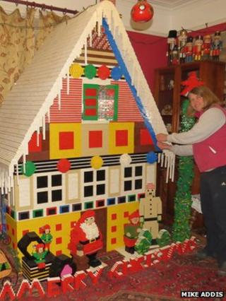 Gingerbread house made of Lego