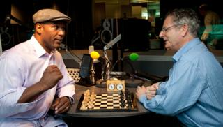 Lennox Lewis plays Dominic Lawson at chess