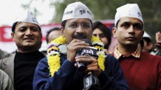 """India""""s Aam Aadmi Party (AAP), or Common Man's Party leader Arvind Kejriwal speaks at a public meeting in New Delhi, India, Sunday, Dec. 22, 2013."""