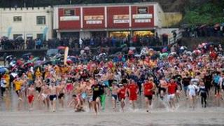 Around 600 dive into sea at Tenby's North Beach on December 26 2012