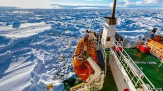 This handout image released by the Centre of Excellence for Climate System Science at the University of New South Wales and taken by Andrew Peacock of www.footloosefotography.com on December 27, 2013 shows the ship MV Akademik Shokalskiy trapped in the ice at sea off Antarctica