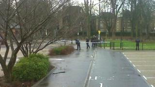 Police at the car park near the Millennium Bridge