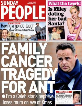Sunday People front page 29/12/13
