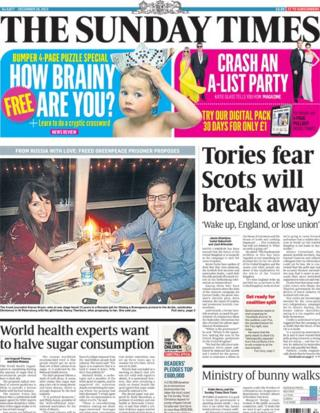 Sunday Times front page 29/12/13