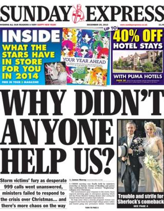 Sunday Express front page 29/12/13