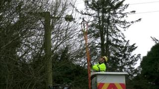 Man working to restore electricity
