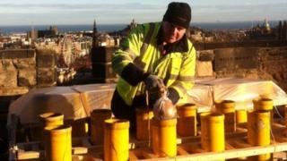 fireworks put in place for Edinburgh Castle displays