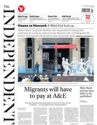Independent front page 30/12/13