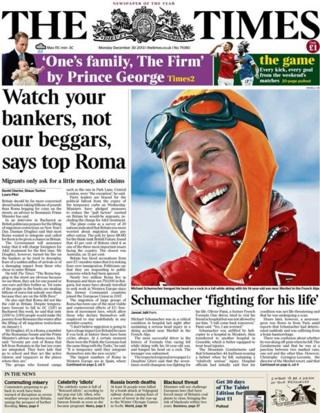 Times front page 30/12/13