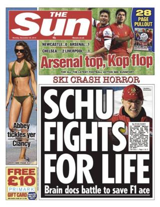 Sun front page 30/12/13