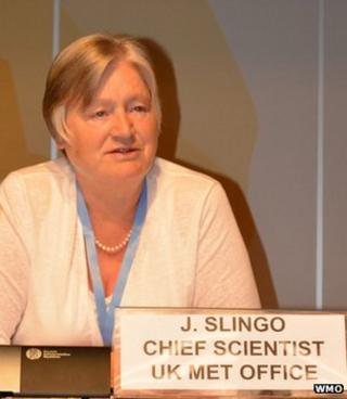 Prof Julia Slingo speaking at a conference (Image: WMO)