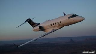 Challenger jet in air