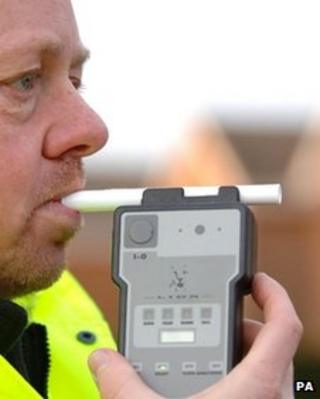 Breath testing equipment is demonstrated