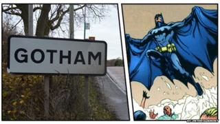Gotham sign and Batman
