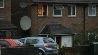 Fire in house at explosion scene