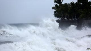 waves beating shoreline