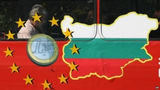 Bus with Bulgaria flag