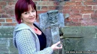 Deana Wildgoose pictured with one of the original lead bracket from the back of the building