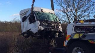 Lorry cab recovered from M1 accident