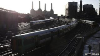 Trains moving in and out of London's Victoria station