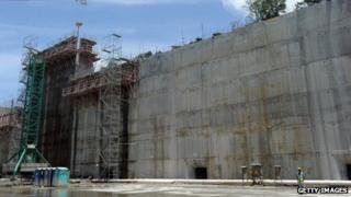 Locks under construction at the Panama Canal