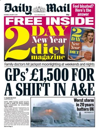Daily Mail front page 4/1/14