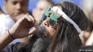 A Colorado man smokes marijuana on April 2, 2012.