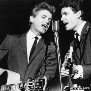 Popular musical duo Phil and Don Everly recording at the Warner Brothers studio in Hollywood, 1963.