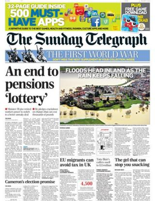 Sunday Telegraph front page 5/1/14