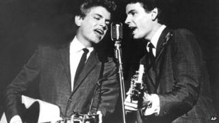 The Everly Brothers, Don (R) and Phil, performing on stage. (AP Photo, File)