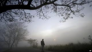 A villager walks on a road on a foggy morning on the outskirts of the eastern Indian city of Bhubaneswar, India, Sunday, Jan. 5, 2014